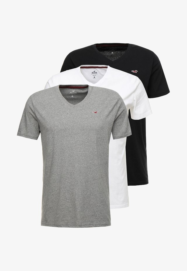 3 PACK - Basic T-shirt - black/white/grey