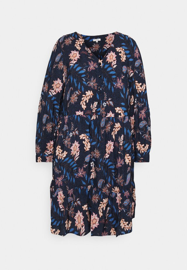 DRESS WITH FLOUNCE - Abito a camicia - navy