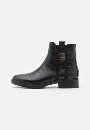 CROCO LOOK DRESSY FLAT BOOT - Nilkkurit - black