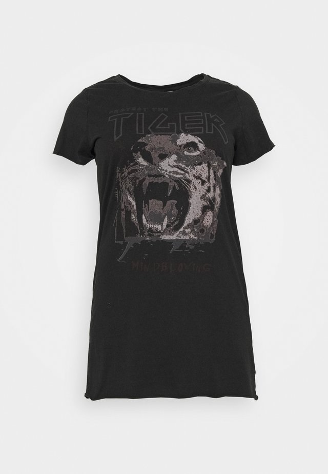 CARERVINS LIFE LONG TEE - T-shirt print - black/acid washed