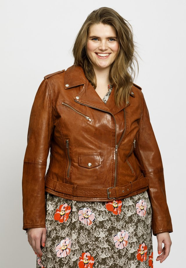 Leather jacket - dark cognac