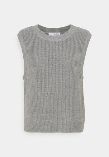 SLFTAY VEST O-NECK - Jumper - light grey melange