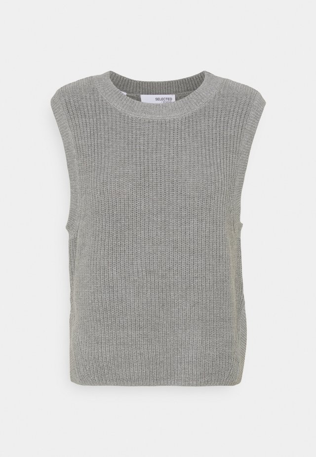 SLFTAY VEST O-NECK - Strikpullover /Striktrøjer - light grey melange