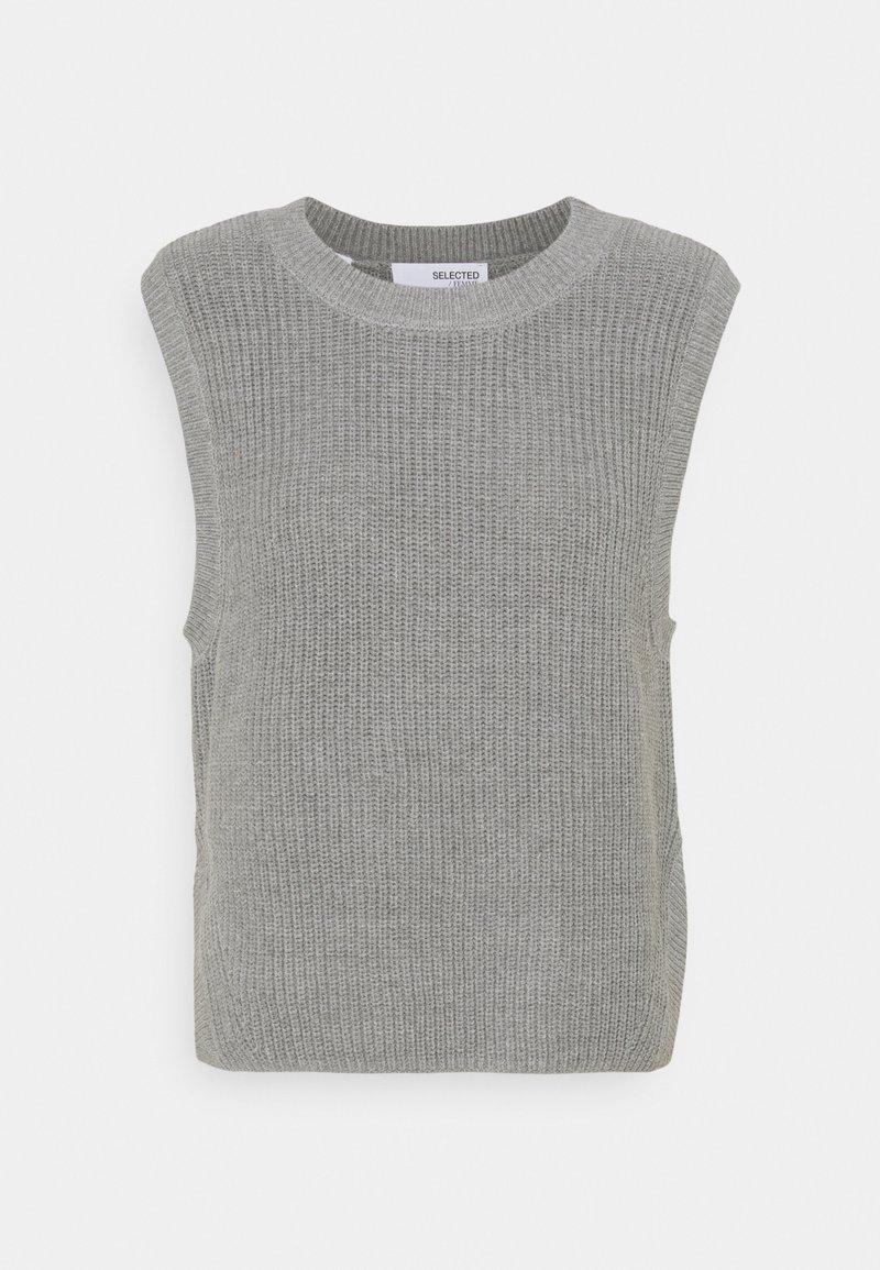 Selected Femme - SLFTAY VEST O-NECK - Jumper - light grey melange