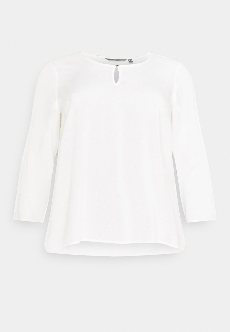 Vero Moda Curve - VMNADS 3/4 FOLD-UP TOP - Blouse - snow white