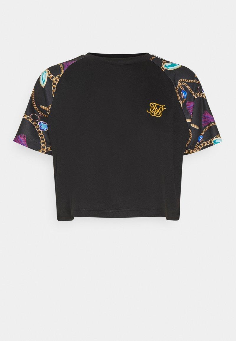 SIKSILK - OPULENCE RAGLAN CROP  - Print T-shirt - black