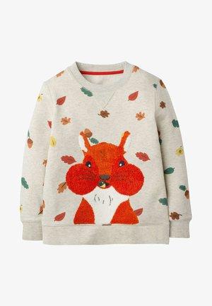 MIT WALDMOTIV - Sweatshirt - hellbeige, herbstblätter/eichhörnchen