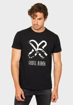 T-shirt print - black denim