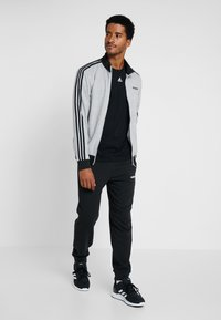 adidas Performance - ESSENTIALS SPORT COTTON TRACKSUIT - Tepláková souprava - medium grey heather/black - 1