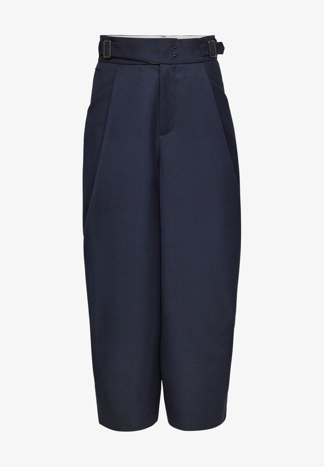3D WIDE CROP - Trousers - naval blue