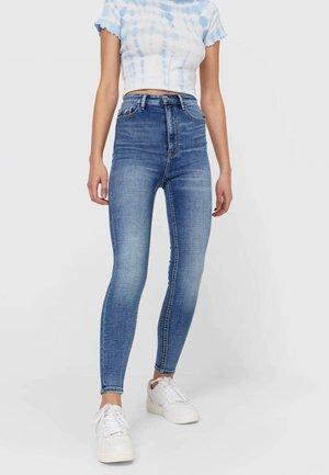 MIT SEHR HOHEM BUND UND KNOPFLEISTE  - Jeans Skinny Fit - dark blue