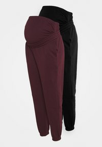 Anna Field MAMA - 2 PACK - LOOSE FIT JOGGERS - OVERBUMP - Træningsbukser - black/bordeaux - 0