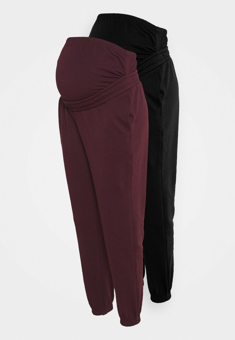 Anna Field MAMA - 2 PACK - LOOSE FIT JOGGERS - OVERBUMP - Træningsbukser - black/bordeaux