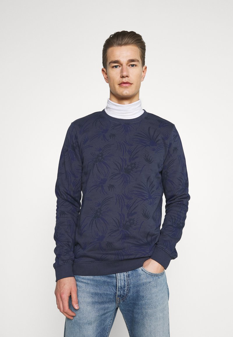 TOM TAILOR DENIM - CREWNECK WITH ALLOVER PRINT - Sweatshirt - navy blue