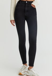 PULL&BEAR - WITH VERY HIGH WAIST - Jeans Skinny Fit - black - 0