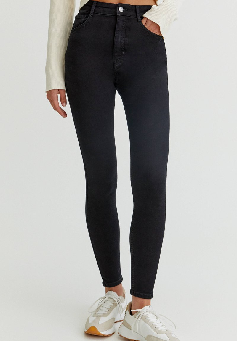 PULL&BEAR - WITH VERY HIGH WAIST - Jeans Skinny Fit - black