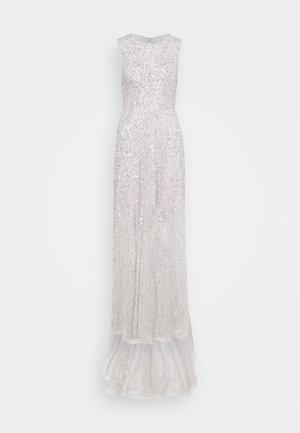 ALL OVER EMBELLISHED MAXI DRESS WITH TRAIN - Occasion wear - soft grey