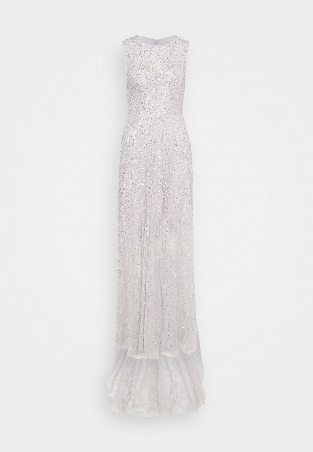 ALL OVER EMBELLISHED MAXI DRESS WITH TRAIN - Gallakjole - soft grey