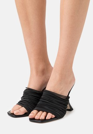 WIDE FIT DIVINE - Heeled mules - black
