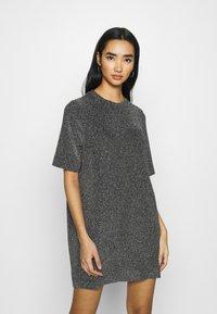 Monki - IZZY DRESS - Jersey dress - black/silver - 0