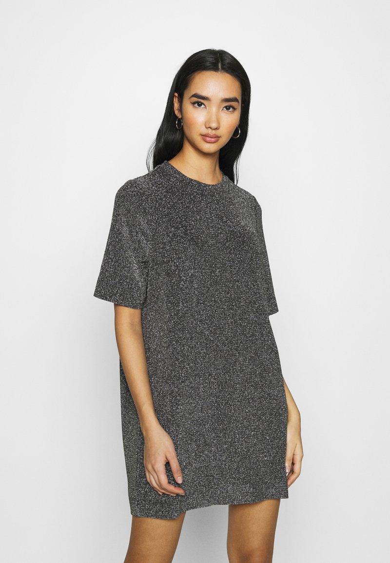 Monki - IZZY DRESS - Jersey dress - black/silver
