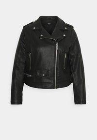 Simply Be - BIKER - Faux leather jacket - black - 0