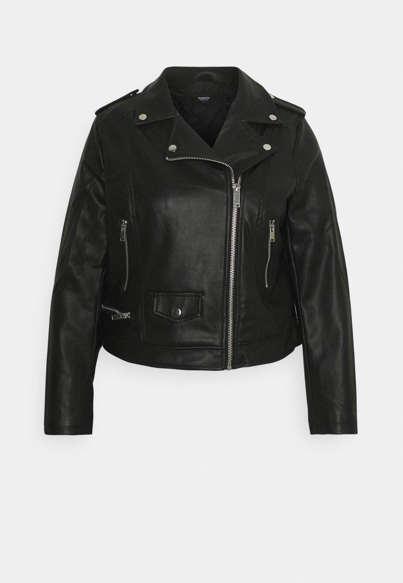 Simply Be - BIKER - Faux leather jacket - black