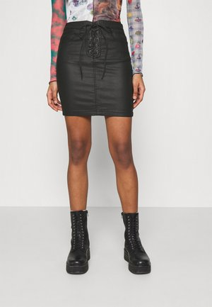 COATED LACE UP SKIRT - Miniskjørt - black