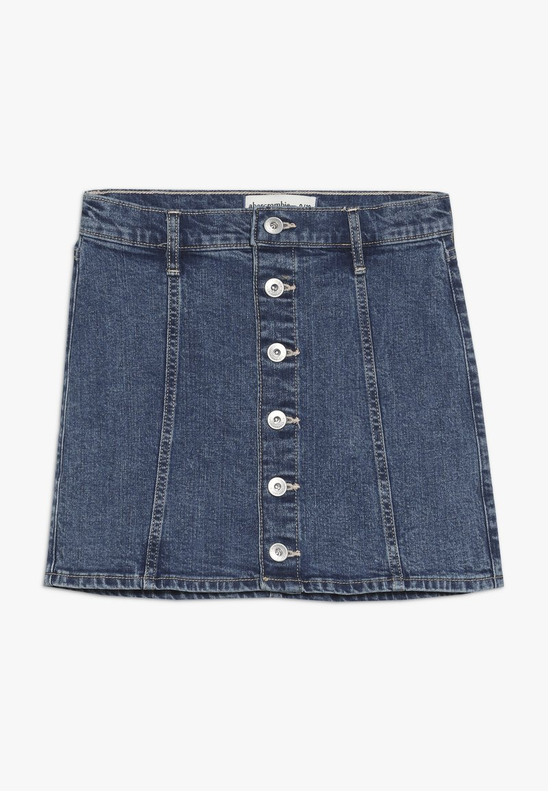 Abercrombie & Fitch - SKIRT - Denim skirt - medium wash denim