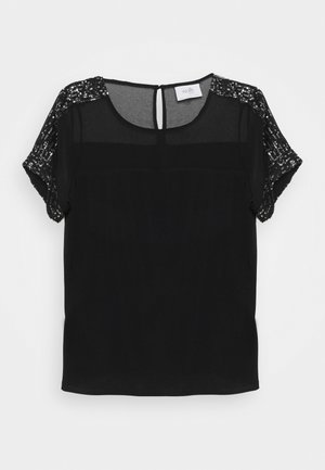 SHEER - T-shirt basique - black