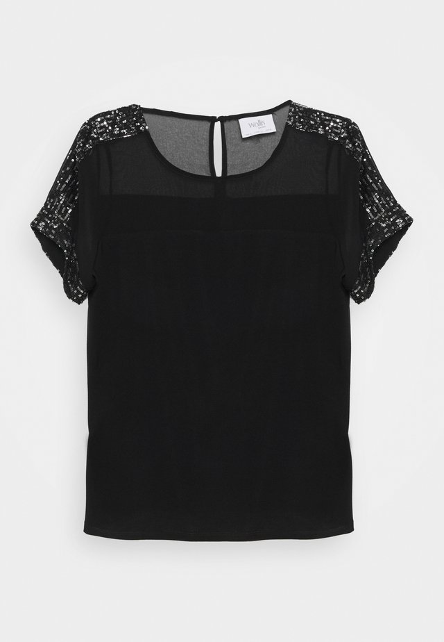 SHEER - Basic T-shirt - black