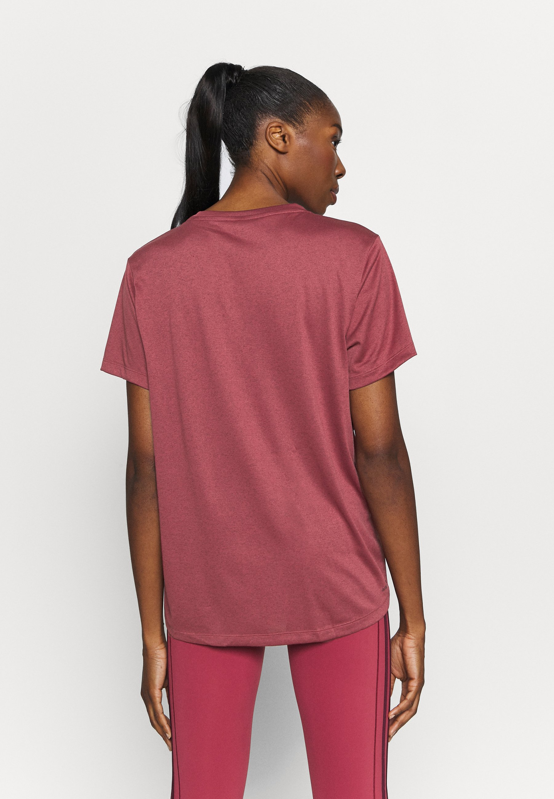 adidas Performance 3 STRIPE TEE - Sports shirt - legred/maroon ccdb6