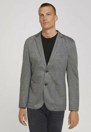 Blazer jacket - grey melange pique structure