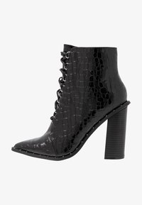 Missguided - STUDDED CROC LACE UP  - High heeled ankle boots - black - 1