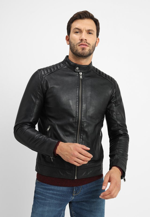 RACER - Leather jacket - black