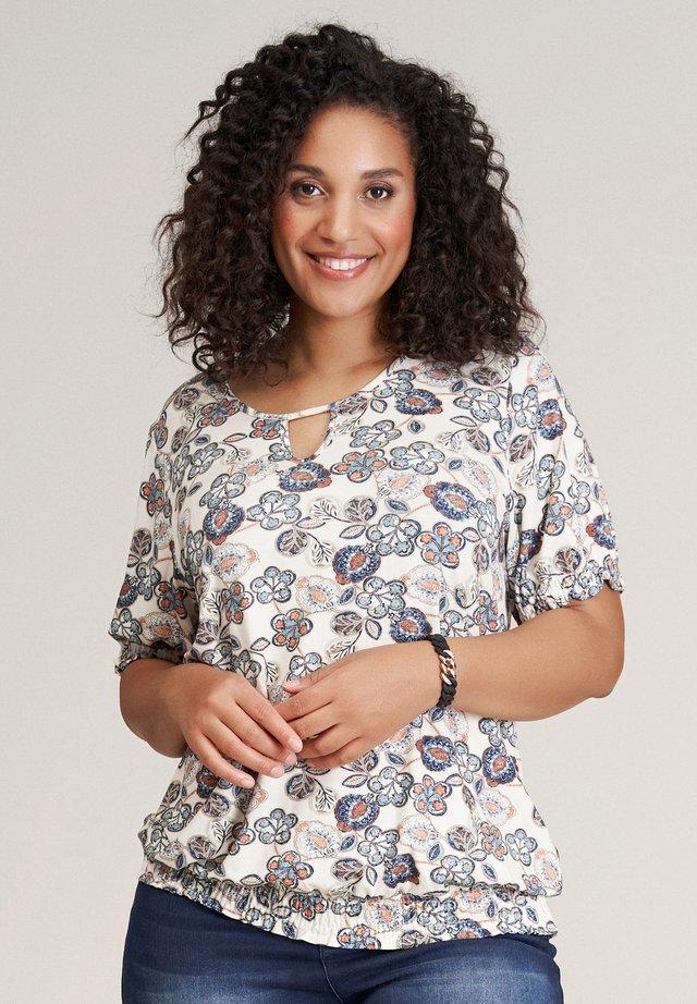 Print T-shirt - beige blue flowered