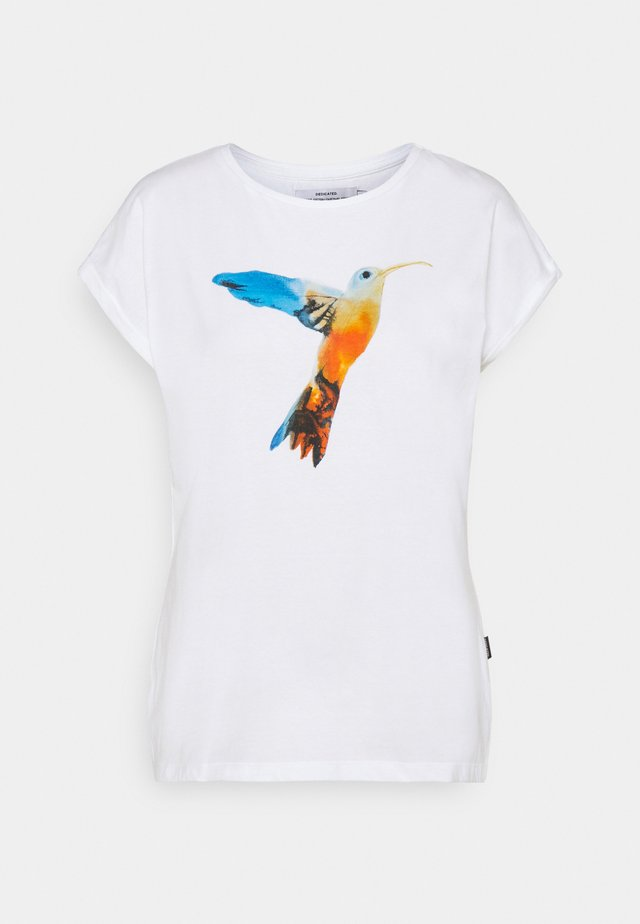 VISBY PAINTED HUMMINGBIRD - T-shirts med print - white