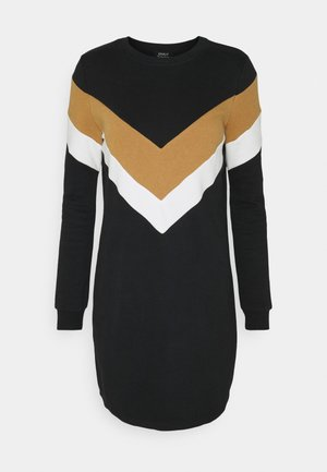 ONLDAKOTA O NECK DRESS - Day dress - black/cloud dancer/tobacco brown