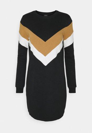 ONLDAKOTA O NECK DRESS - Kjole - black/cloud dancer/tobacco brown