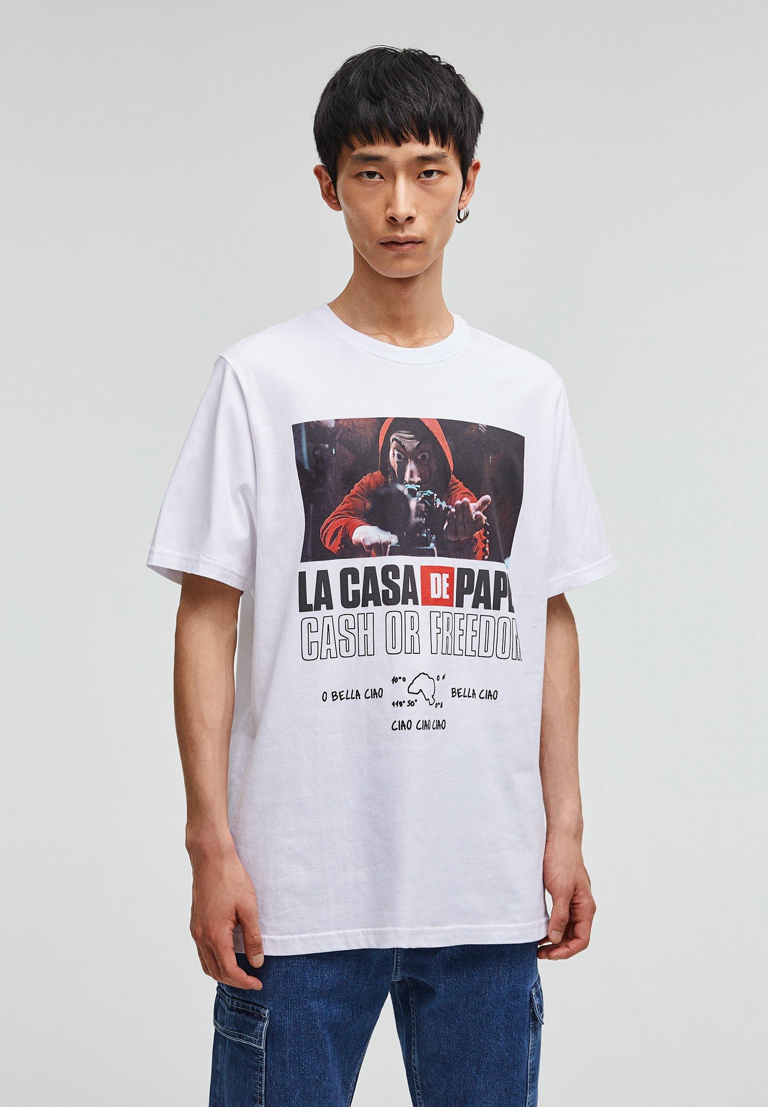 Pull Bear La Casa De Papel T Shirt Print White Weiß Zalando De