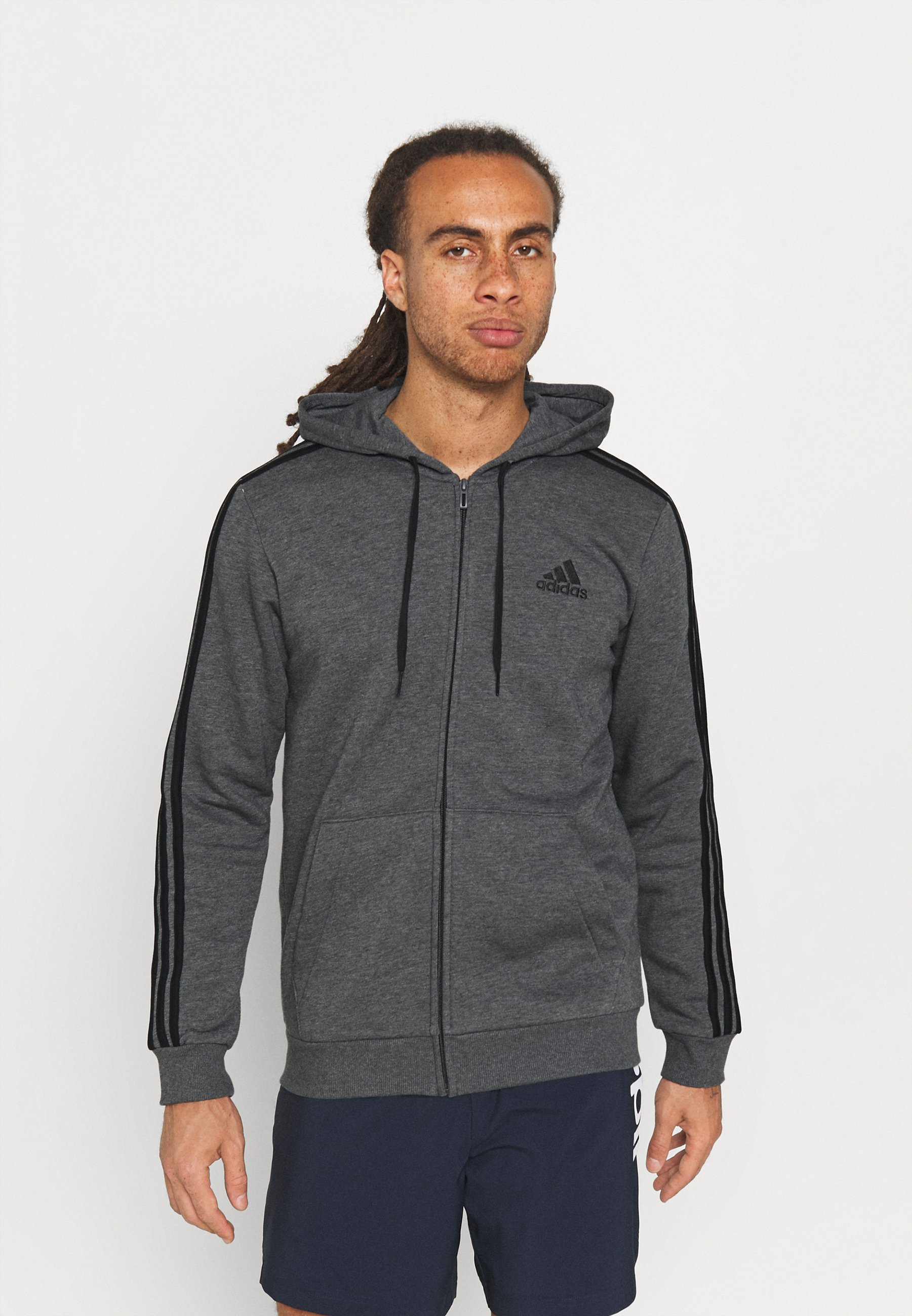 Men 3 STRIPES FLEECE FULL ZIP ESSENTIALS SPORTS TRACK JACKET HOODIE - Zip-up sweatshirt