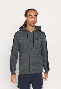 adidas Performance - 3 STRIPES FLEECE FULL ZIP ESSENTIALS SPORTS TRACK JACKET HOODIE - Zip-up sweatshirt - dark grey heather - 0
