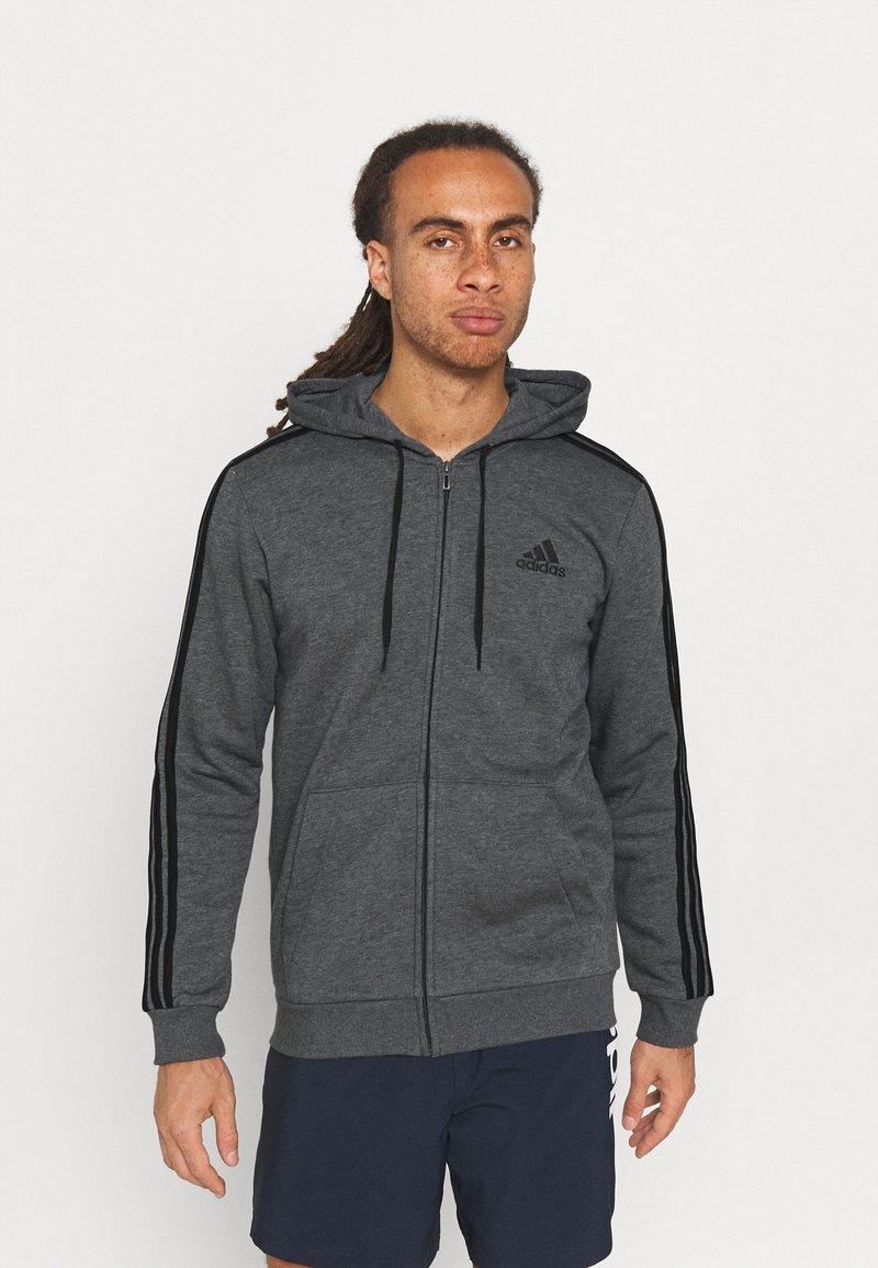 adidas Performance - 3 STRIPES FLEECE FULL ZIP ESSENTIALS SPORTS TRACK JACKET HOODIE - Zip-up sweatshirt - dark grey heather