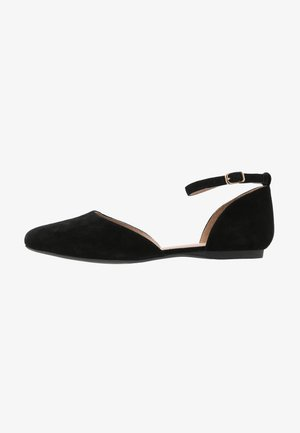 LEATHER ANKLE STRAP BALLET PUMPS - Riemchenballerina - black