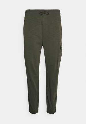 Tracksuit bottoms - khaki/black oxidized