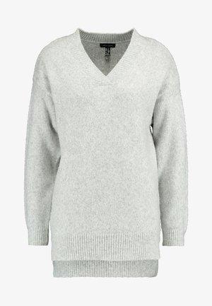 V NECK LONGLINE JUMPER - Jersey de punto - light grey