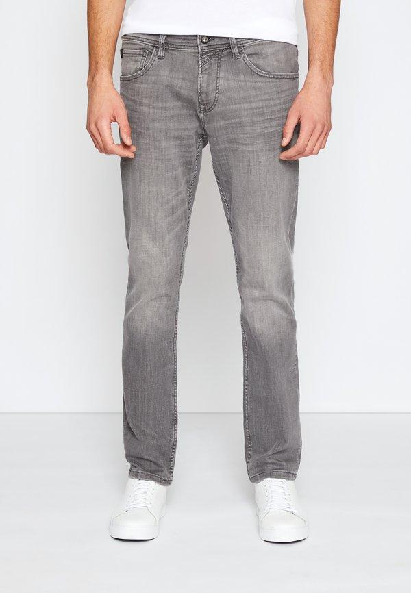 TOM TAILOR DENIM STRAIGHT AEDAN STRETCH - Jeansy Straight Leg - used mid stone grey denim/szary denim Odzież Męska UAQF