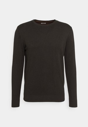 BASIC CREW NECK  - Sweter - dark brown melange
