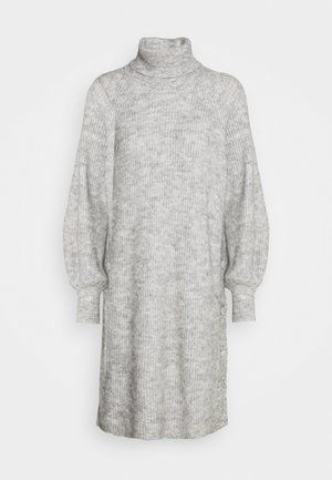 YASALLU ROLL NECK DRESS - Gebreide jurk - light grey melange