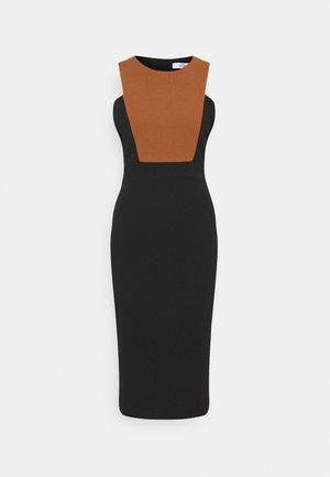 NOVA FRONT PANEL MIDI DRESS - Cocktail dress / Party dress - black/brown
